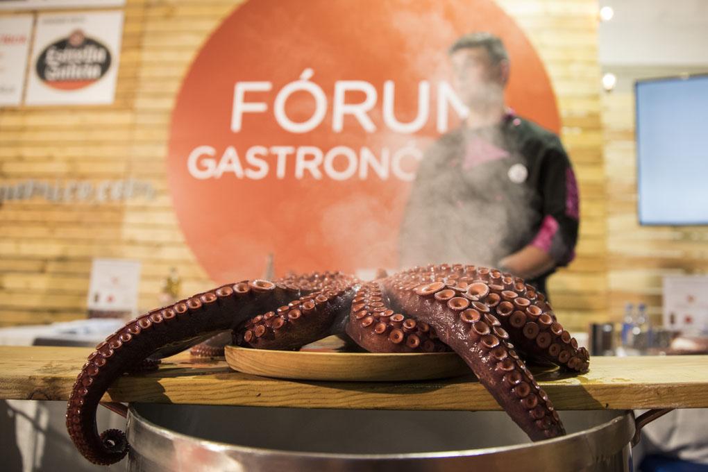 Cocinando pulpo en el Fórum Gastronómico