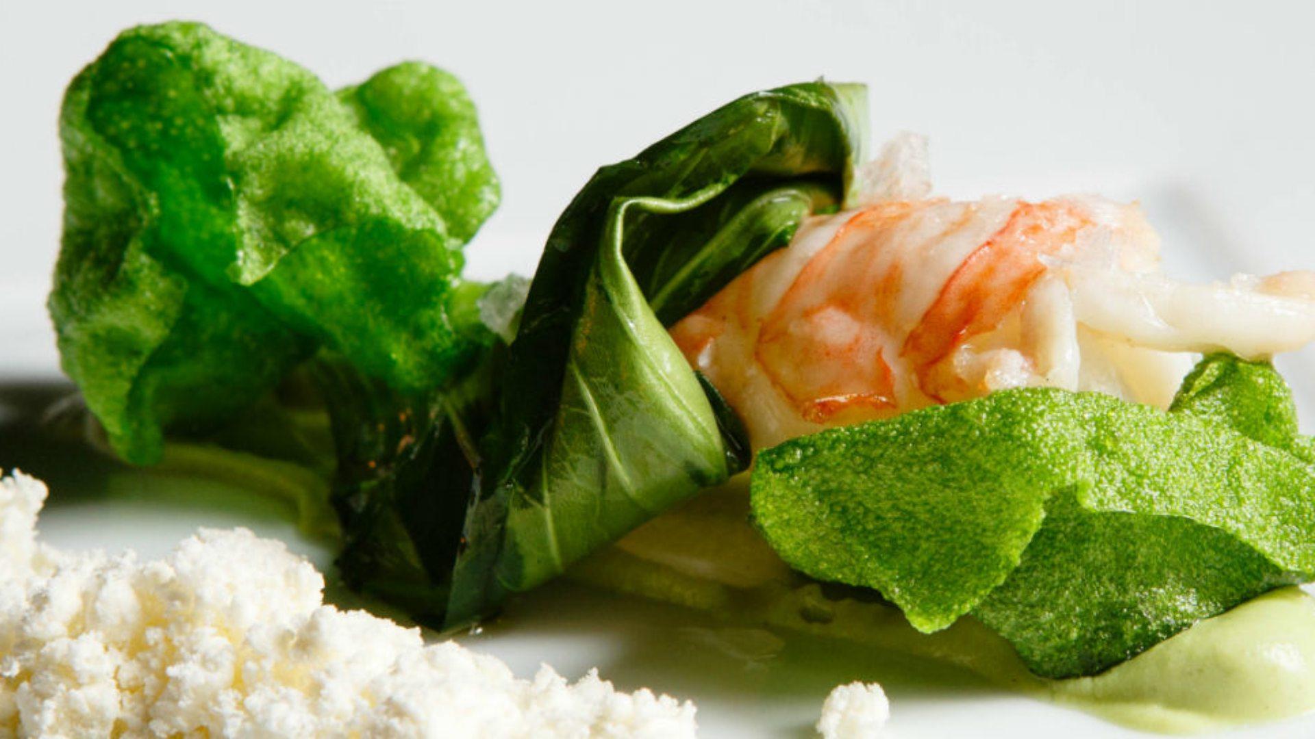 Plato estrella: Cigala verde con pan de algas