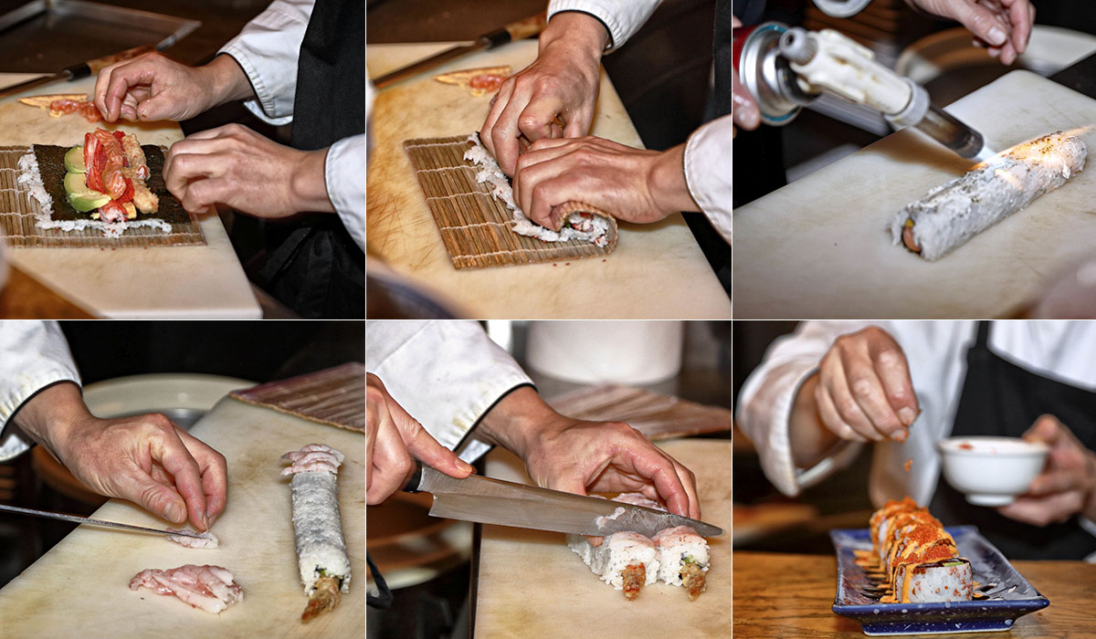 Consecución de fotos mostrando la elaboración de uno de los sushis