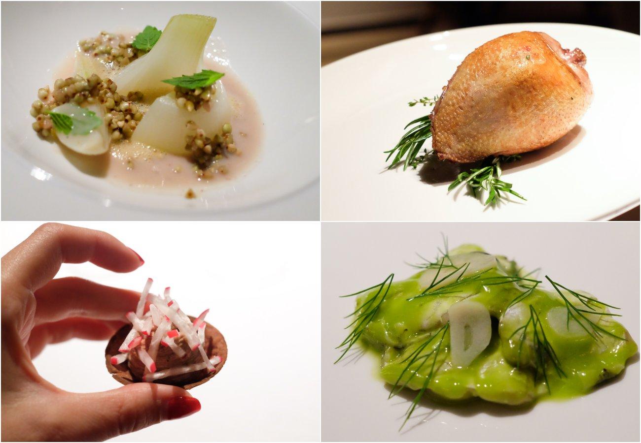 Restaurante 'Alma' (Pamplona) - Platos: Cebollas confitadas con trigo sarraceno y caldo de manitas; pechuga de pichón; 'parfait' de pichón sobre tartaleta de algarroba y cocochas con eneldo.