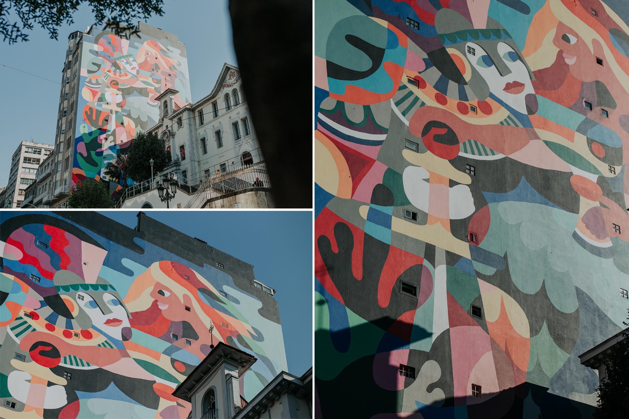Detalle de las figuras del mural de 3ttman, conocido como 'El conquistador y la sirena'.