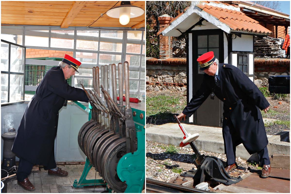 Javier realiza el cambio de agujas de las vías para que la locomotora tome la dirección a un nuevo viaje.
