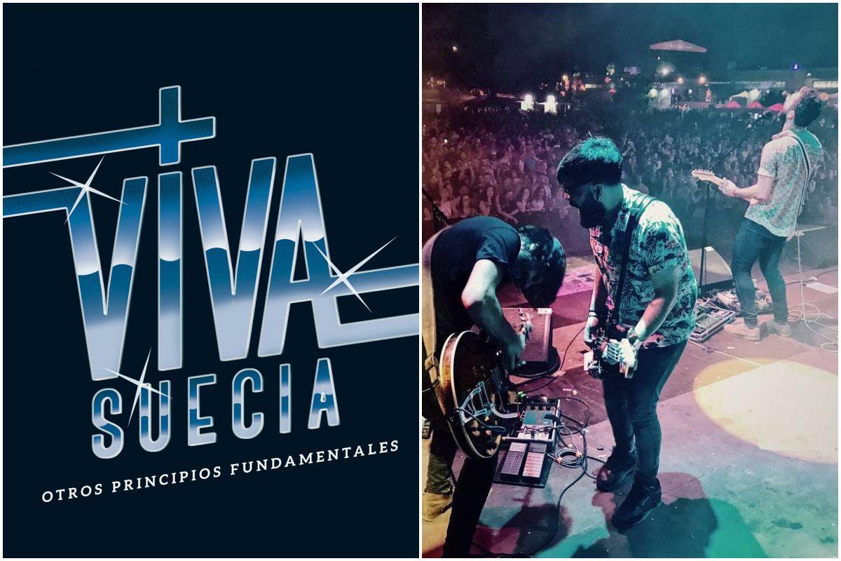 Portada del último disco de Viva Suecia y un momento de la actuación del grupo durante un concierto. Fotos: Facebook.