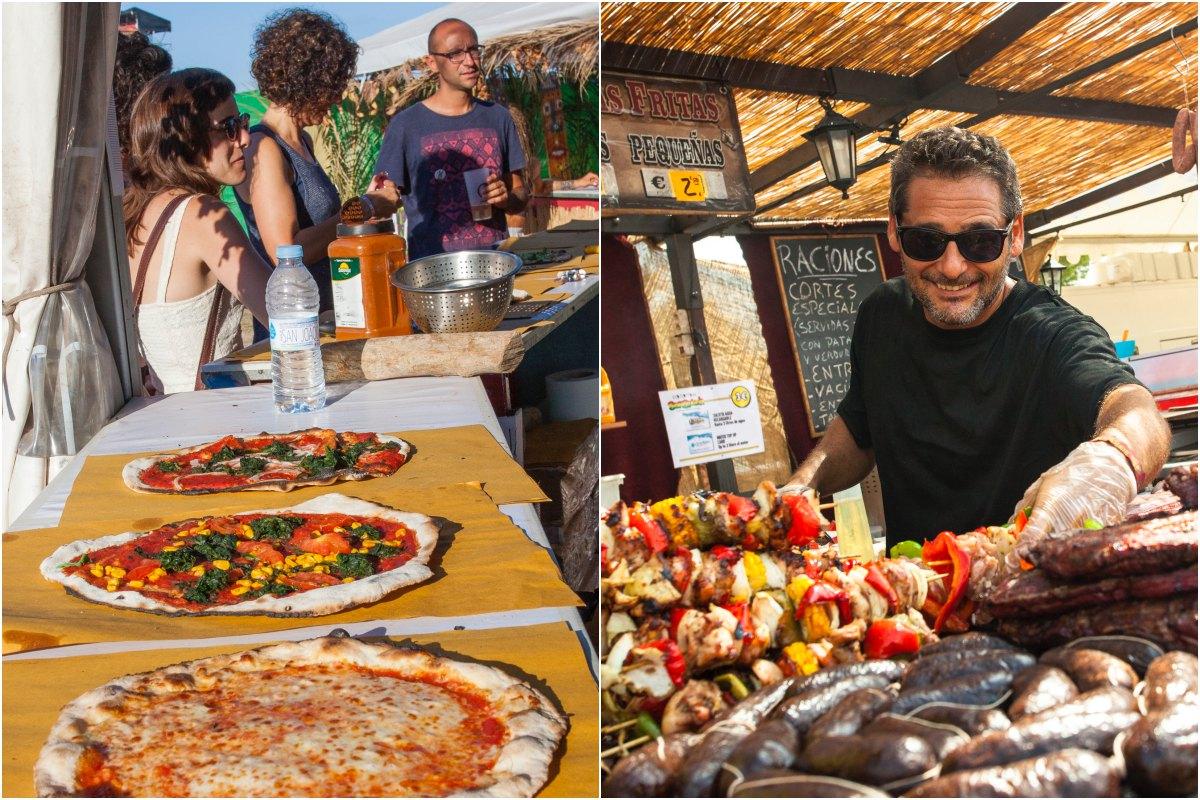 Una composción del área de comidas del Festival Rototom, en Benicásim, con pizzas vegetarianas y pinchitos. Fotos: Rototom Sunsplash.