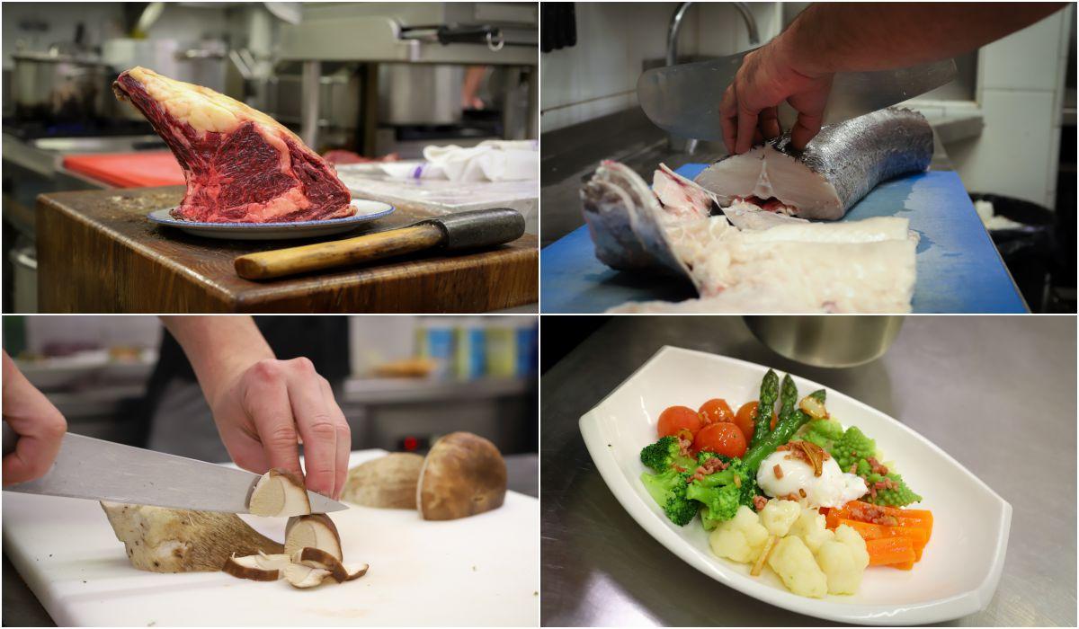 Carnes, pescados, verduras, hortalizas y arroces en la carta.
