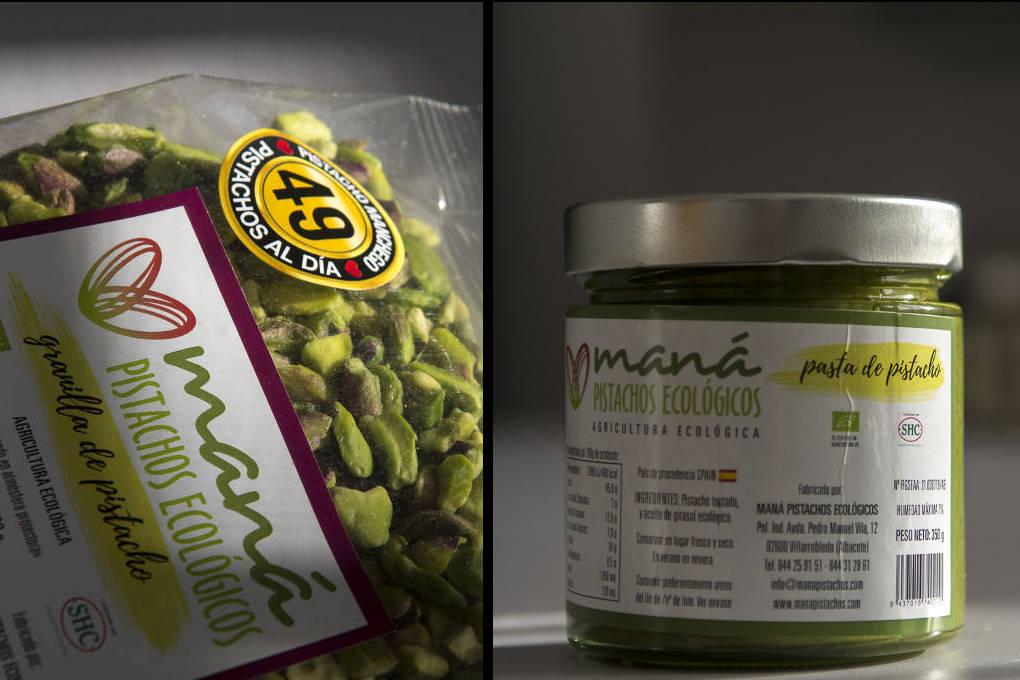 Granilla de pistachos y pasta de pistachos, ecológicos, deliciosos y 'healthy'.