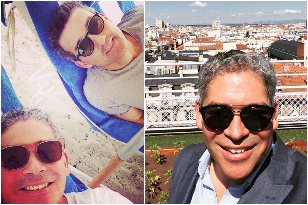 Boris Izaguirre con su marido en unas tumbonas de la playa y en la terraza del hotel Wellington de Madrid. Fotos: Instagram.