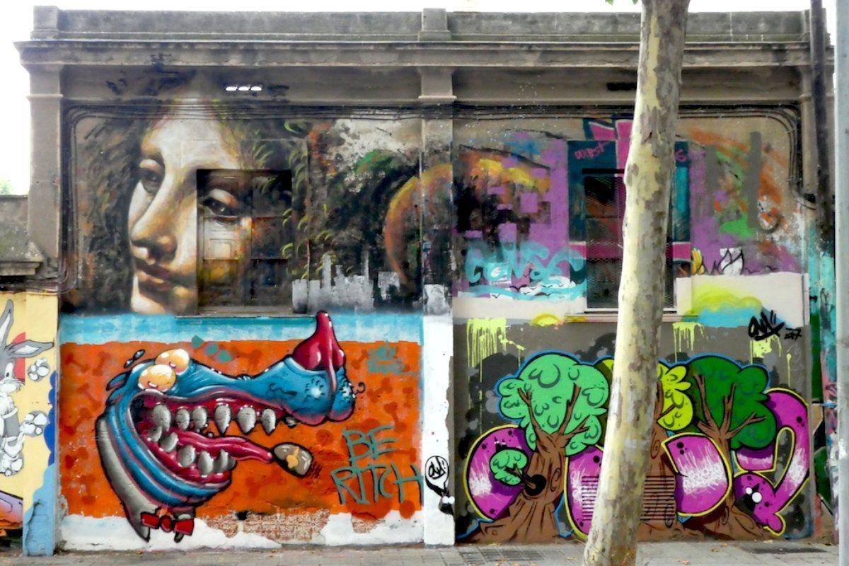 Actualmente solo se conserva la cara del ángel 'rafaelesco' en el mural, junto a otros grafitis de diferentes estilos.