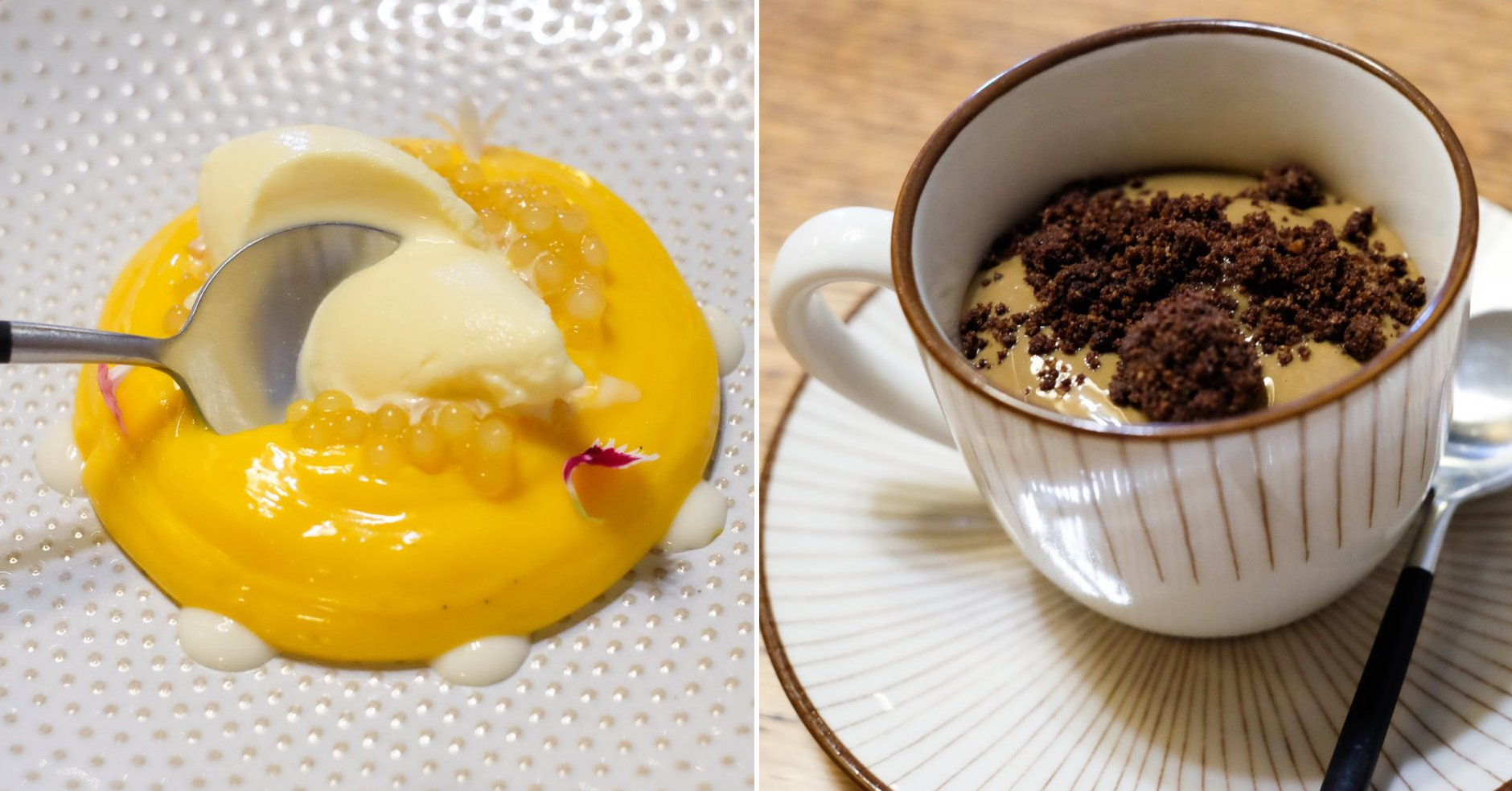 Restaurante 'Maruja Limón'. Postres: tocinillo de vainilla y cardamomo y crema de queso con café.