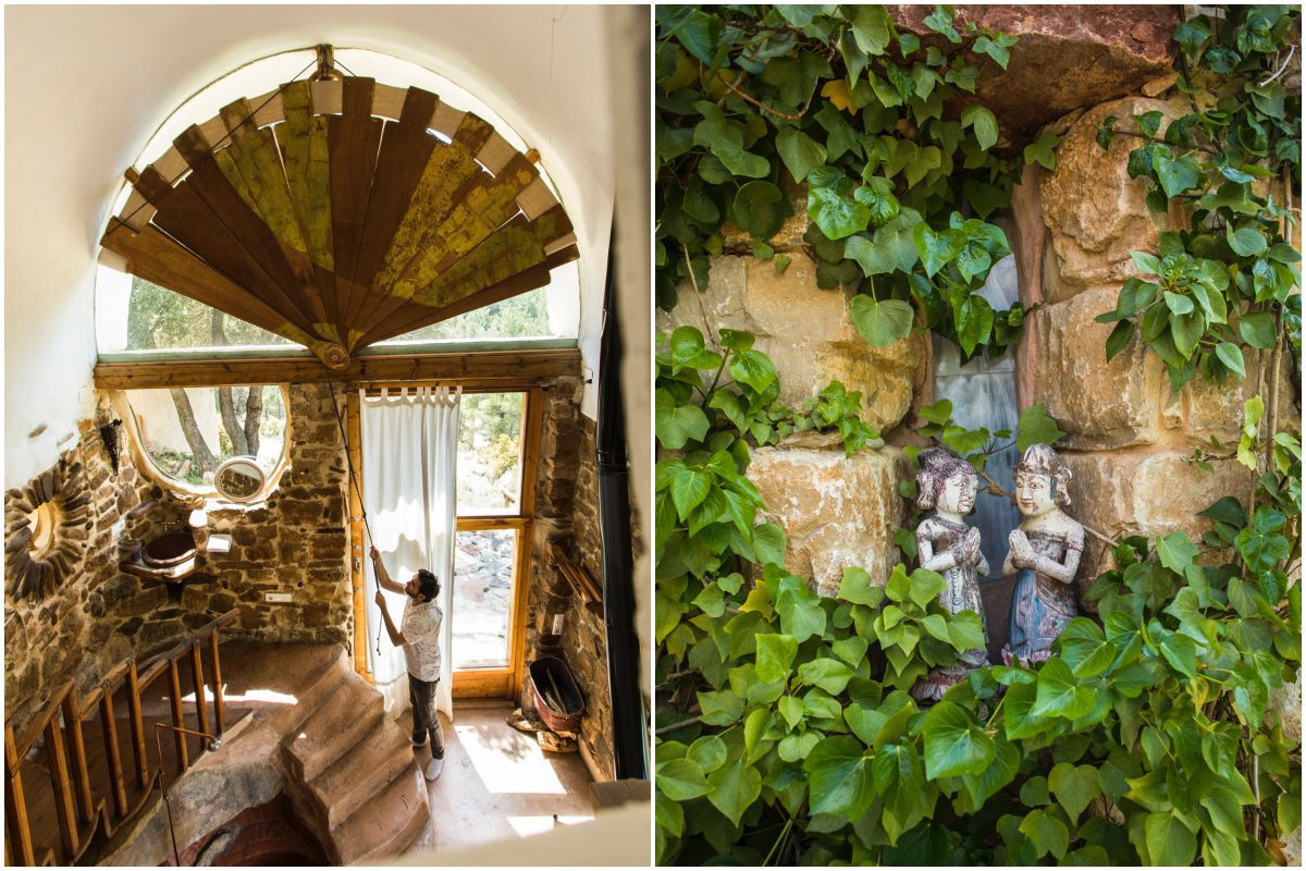 Cerrando el abanico de maderas que hace las funciones de estor, fabricado por la propietaria, Isabel, y detalle en el jardín de la casa rural 'Mar de la Carrasca', en el valle de Peñagolosa, en Castellón.