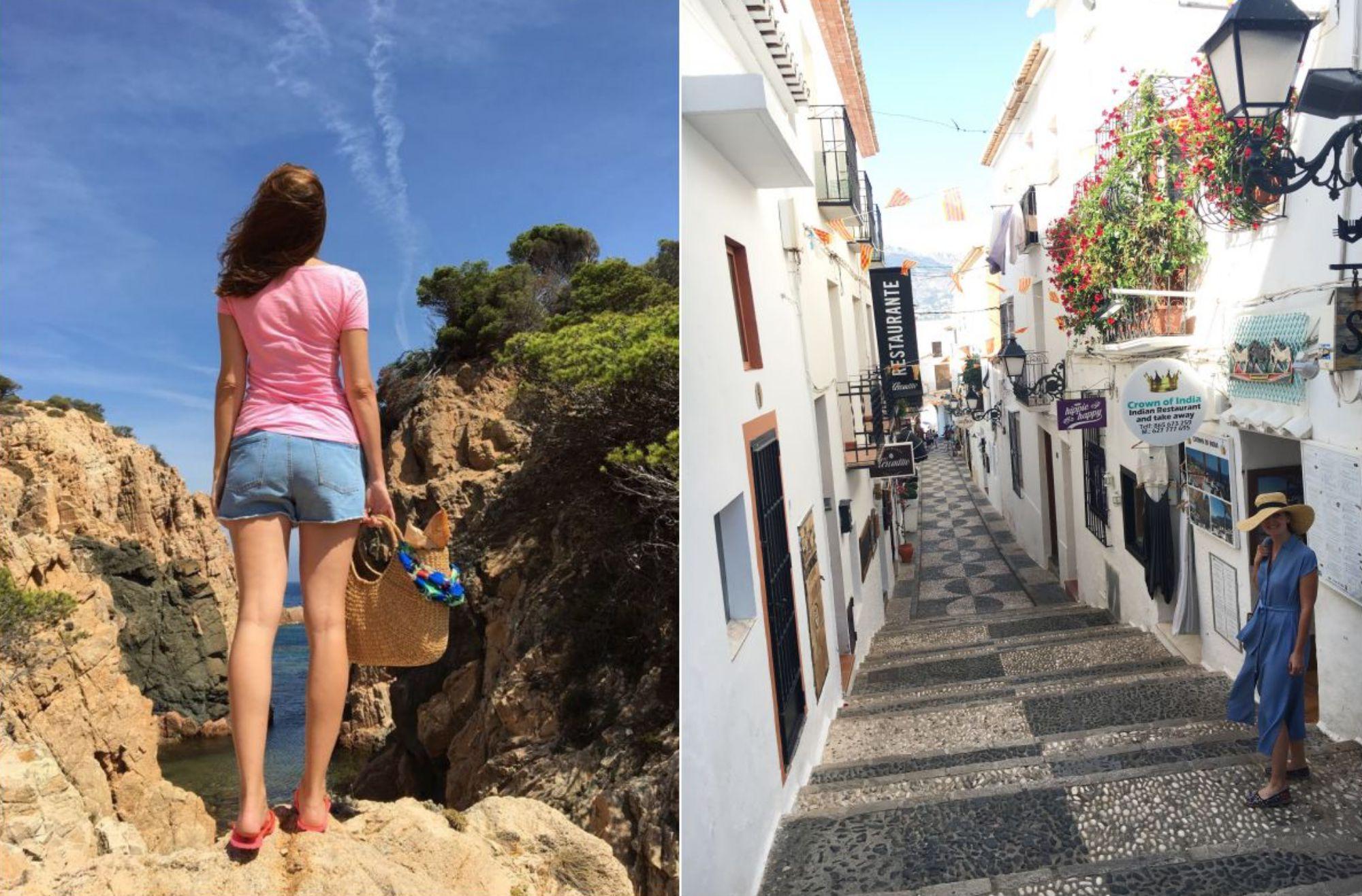 Las luces mediterráneas les son familiares: Mar en una cala de Ibiza y Diana paseando por Altea. Foto: Três Studio.