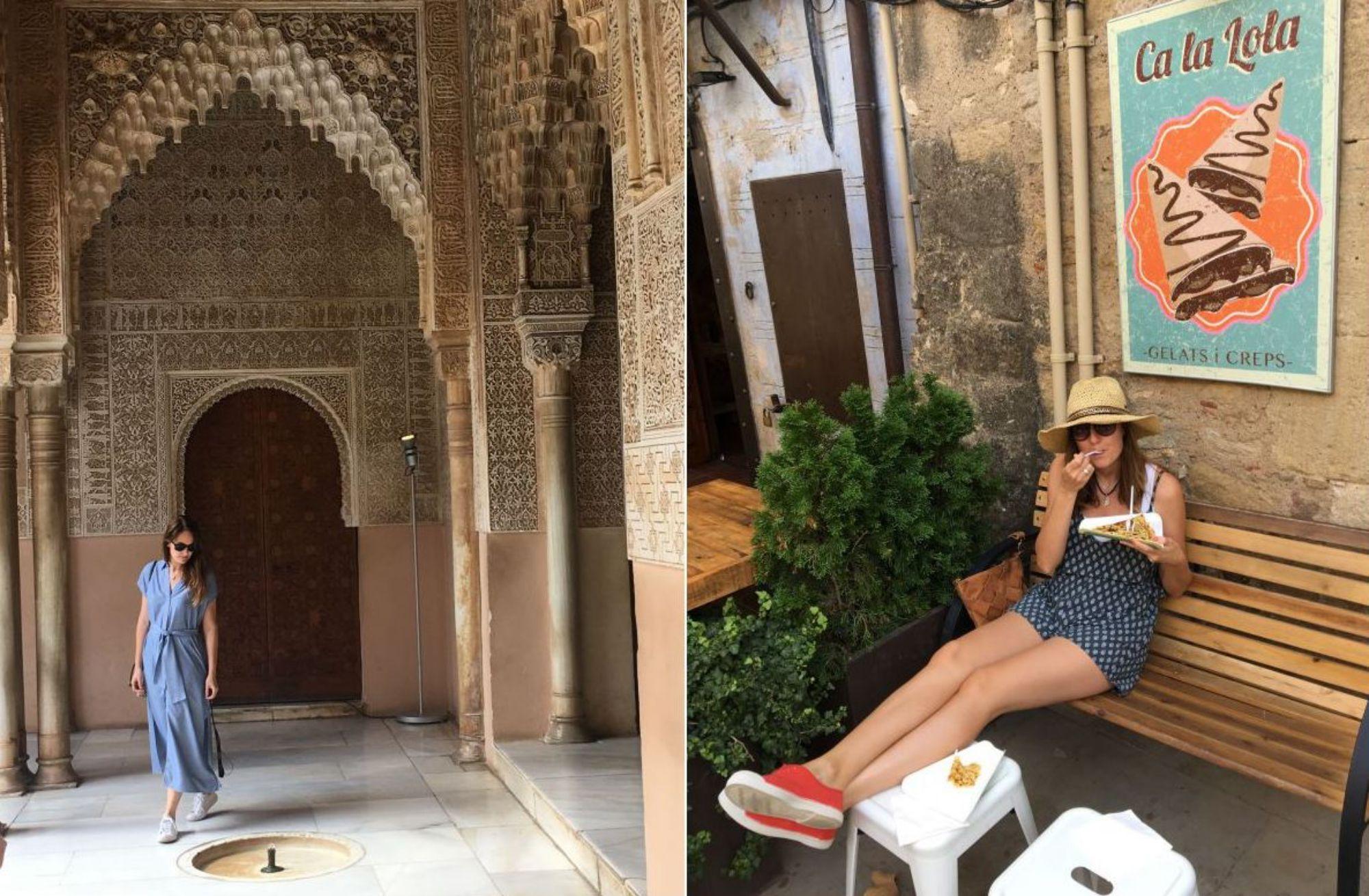 Viajando sin prisas, Diana en La Alhambra y Mar, comiendo un 'crêpe' en 'Ca La Lola' (Peratallada). Fotos: Três Studio.