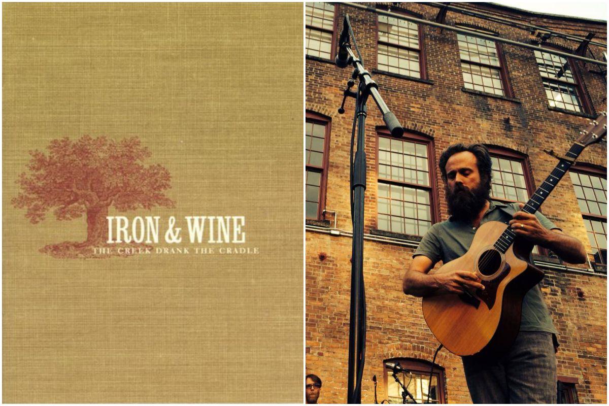 Portada del disco de Iron & Wine y foto durante un concierto en el exterior de un museo en Nueva York.