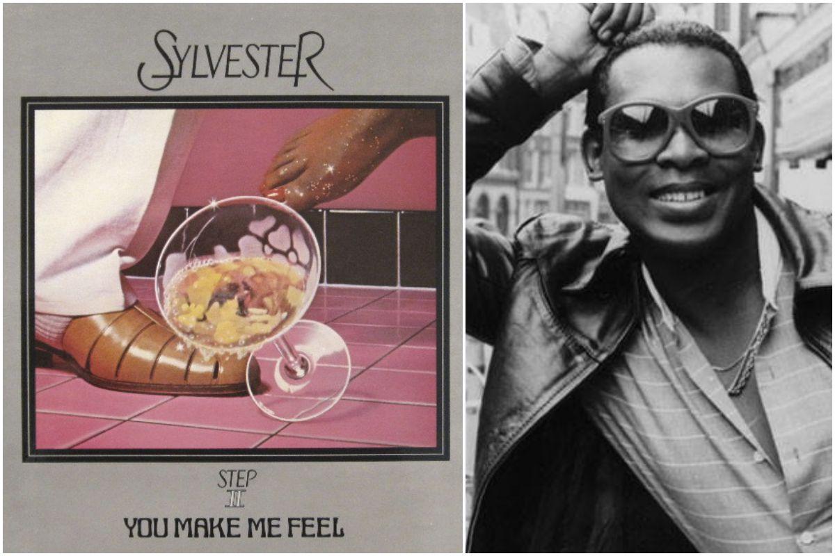 Portada del disco de Sylvester y una foto del artista en blanco y negro.