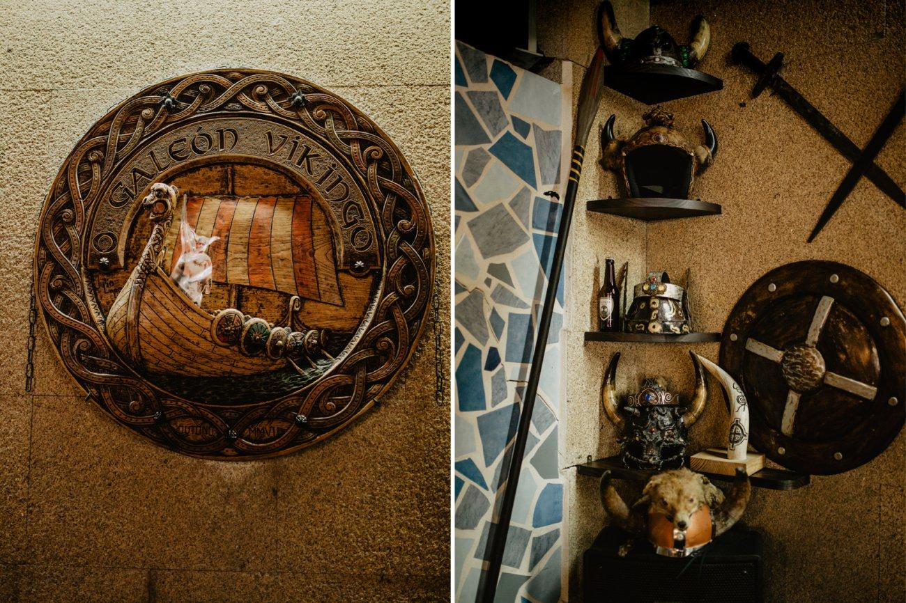 Vikingos de Catoira - Medallón y cascos en el bar
