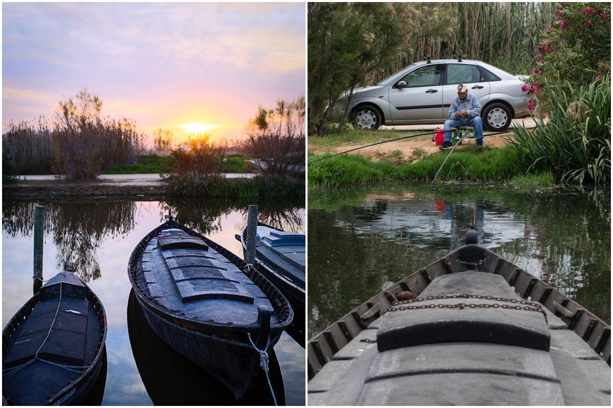 Las barcas a la orilla de La Albufera, en Catarroja, y un pescador.