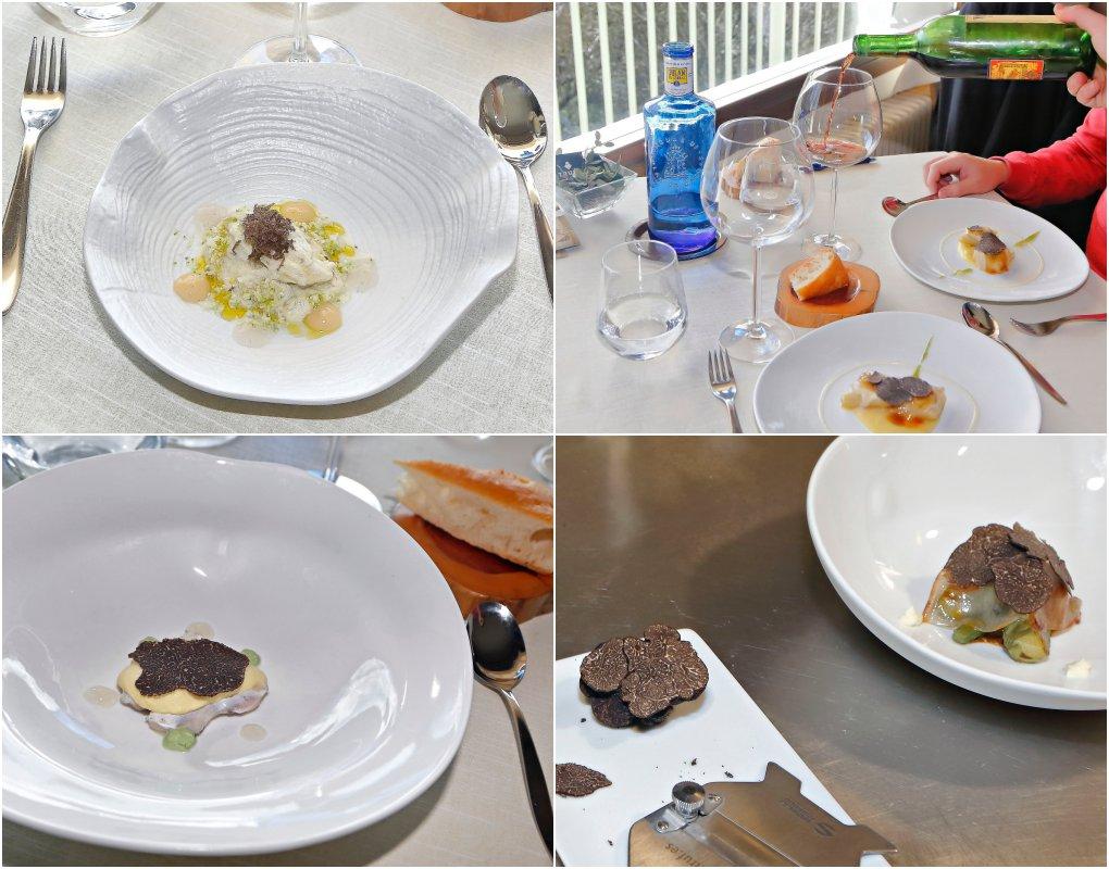 Platos del menú 'con trufa negra de Soria': cardo-almendra, liebre a la 'royal', cocochas y alcachofas 'al ajillo'.