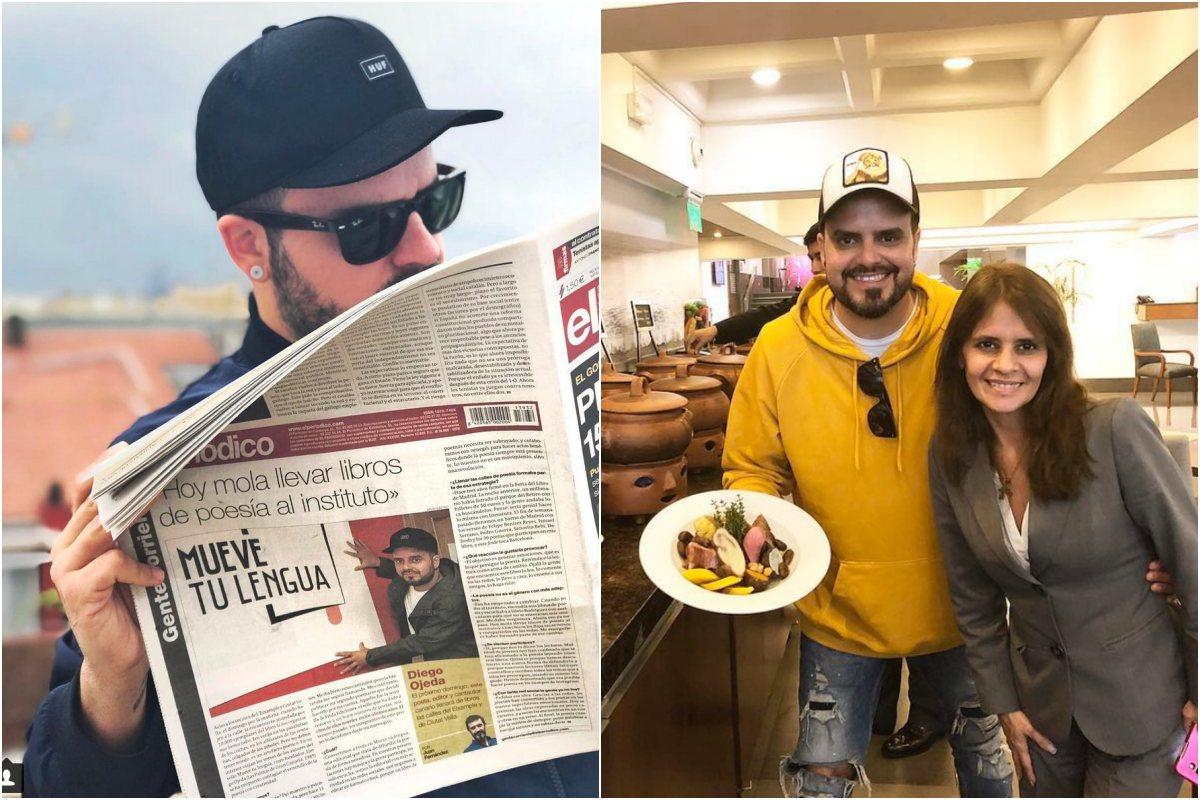 Diego es uno de los principales promotores de Mueve tu lengua. A la derecha, disfrutando de una comida en buena compañía. Foto: Instagram