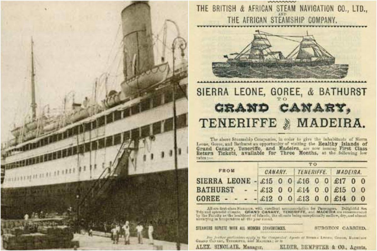 Un barco con turistas en 1927, en Santa Cruz. Imagen: Fundación Canaria Orotava Historia de la Ciencia.