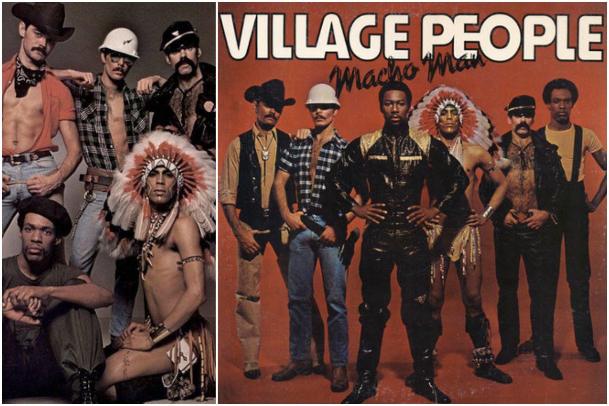 Portada del disco del grupo Village People y una imagen de ellos en los años 70.