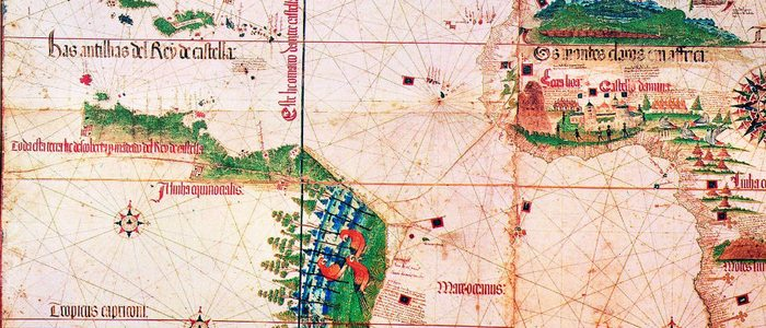 Planisferio de Cantino sobre el Tratado de Tordesillas.