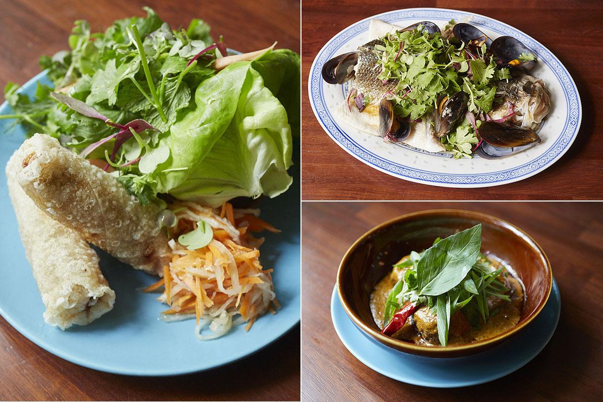 'Nem ram' de cerdo, gambas y seta, pescado cantonés con mejillones y curry con albóndigas.