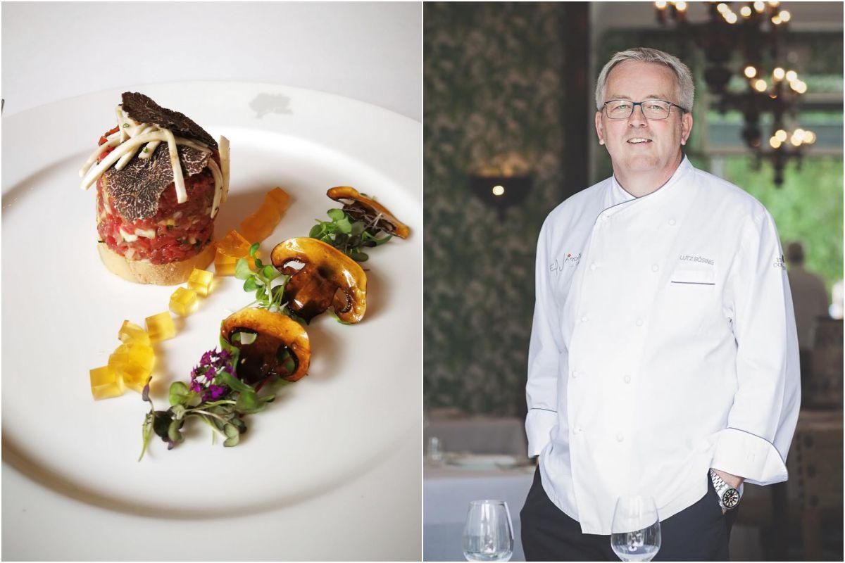 Un plato de Jardín de Lutz, en el hotel Finca Cortesín, y retrato de Lutz Bösing, chef del restaurante