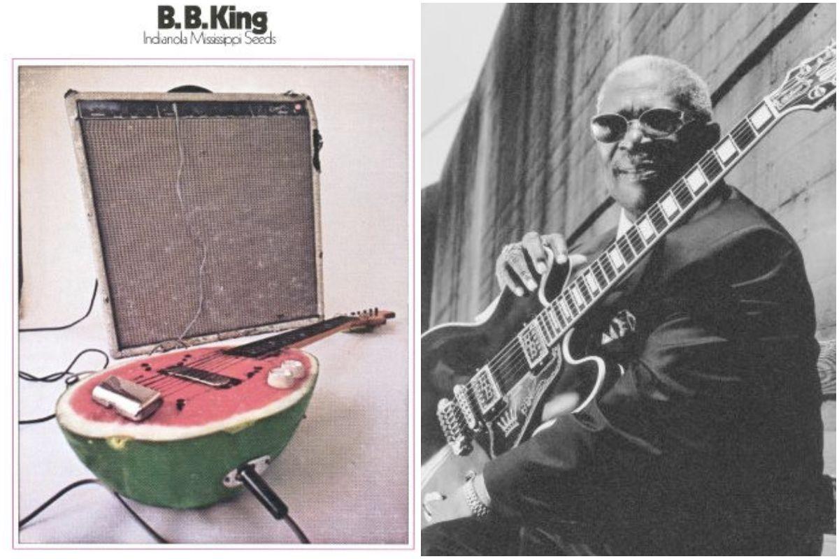 Portada del disco de B.B King y un retrato del artista.
