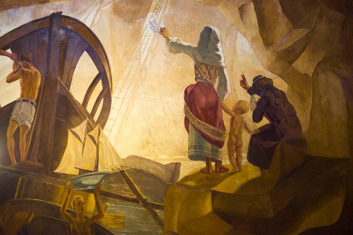 Parte del mural de Mariano de Cossío en el Ayuntamiento de Santa Cruz de La Palma.