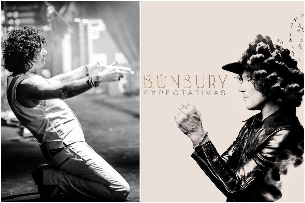 Portada de Expectativas, el disco de Bunbury, y una foto del artista durante un concierto. Fotos: Jose Girl / Facebook.