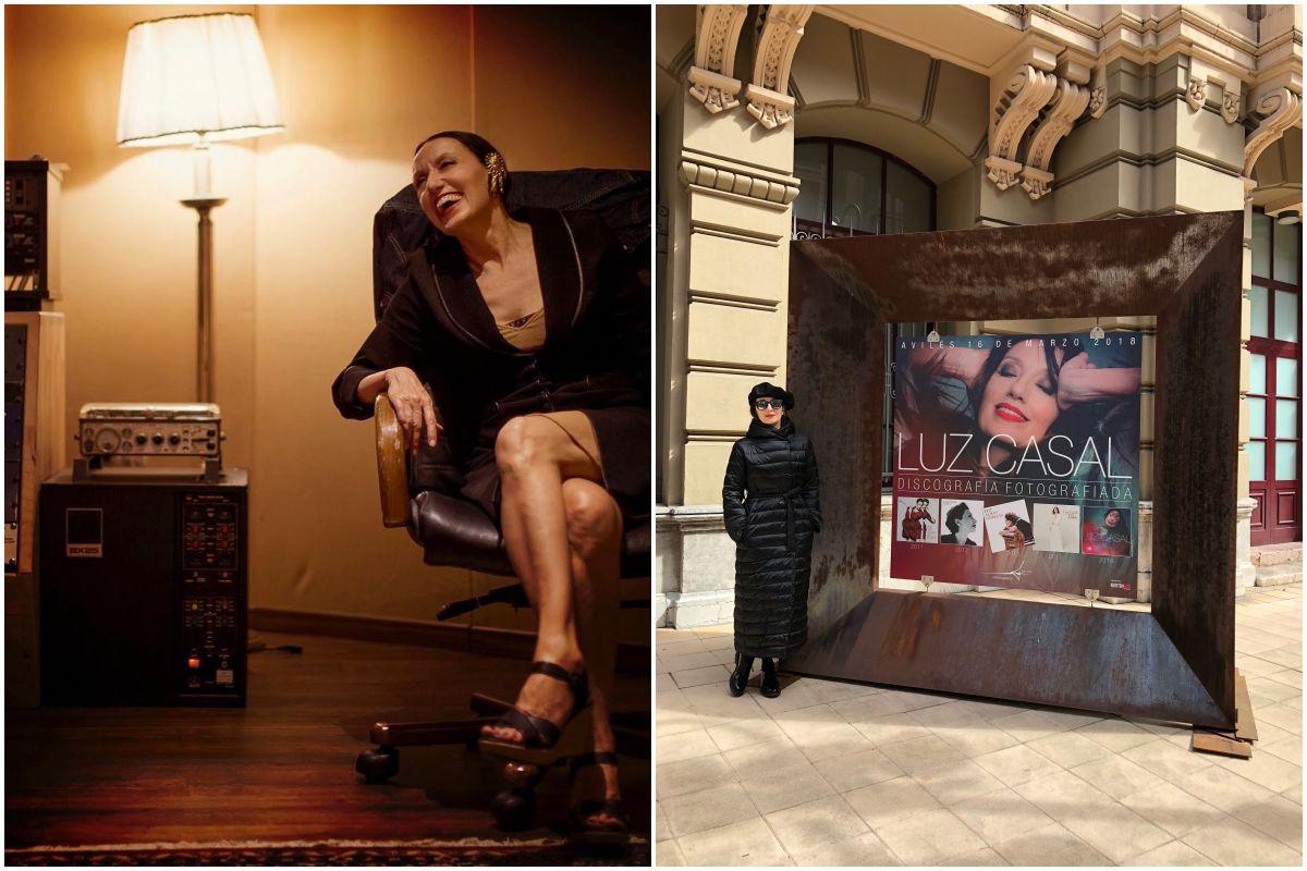 Luz Casal durante una sesión de fotos para la promoción de su último disco y junto a un cartel de la exposición, en Avilés, de las portadas de sus discos.