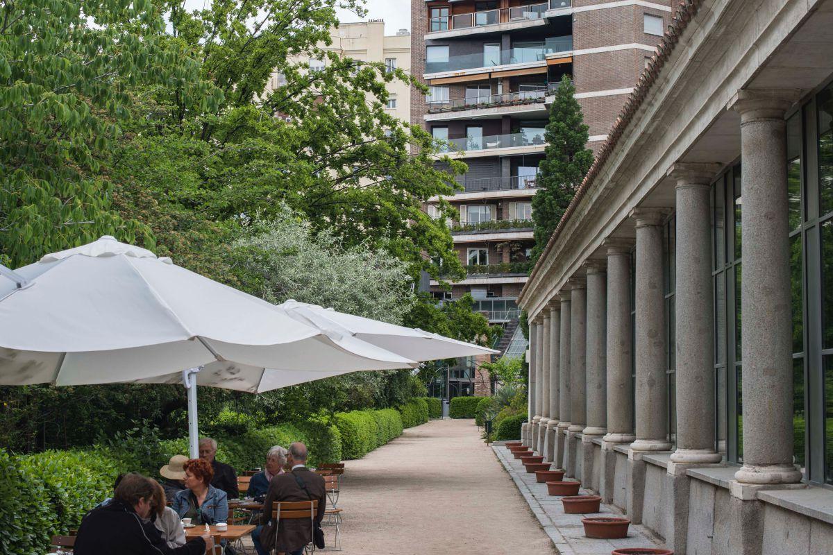 La zona de terraza junto al pabellón de Villanueva en el Real Jardín Botánico de Madrid.