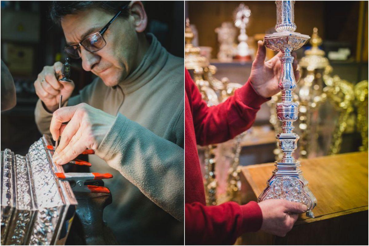 Francisco José Mateos, encargado del cincelado en 'Orfebrería Villarreal' y una pieza de candelería de palio.