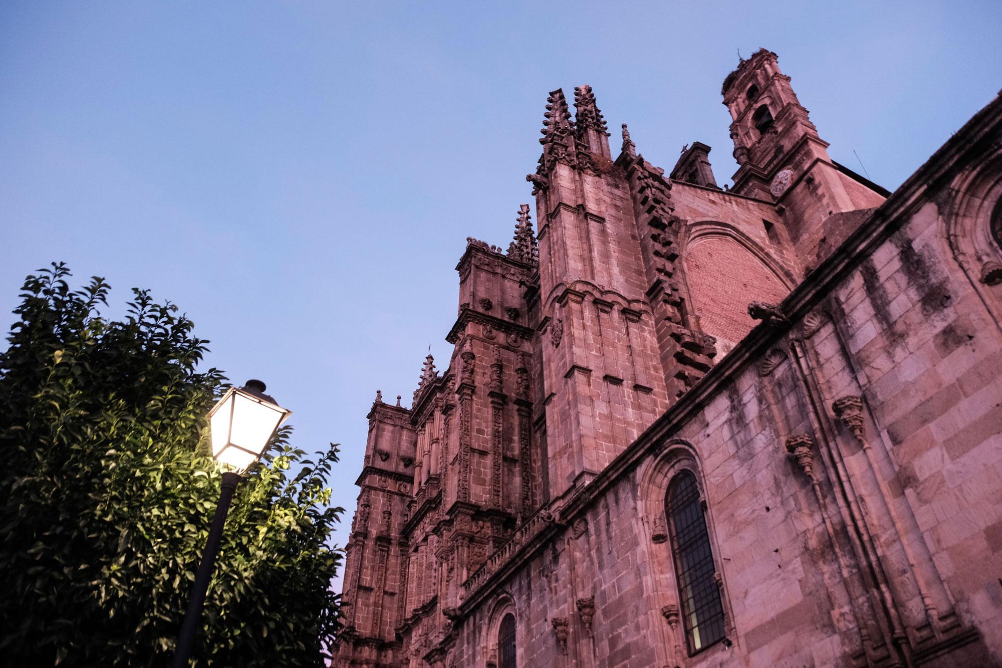 Vista de la catedral nueva iluminada al atardecer.