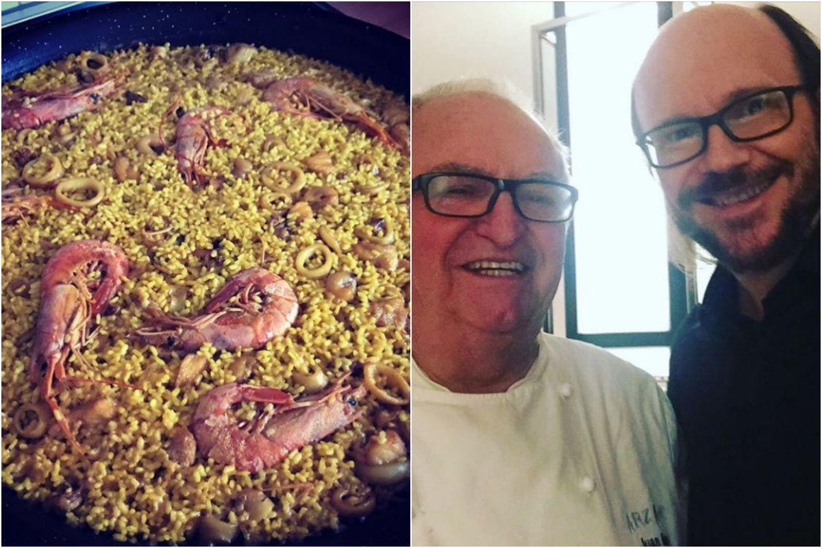 """Una paella que no perdona y con su """"amiguete"""" Juan Mari Arzak. Fotos: Instagram."""