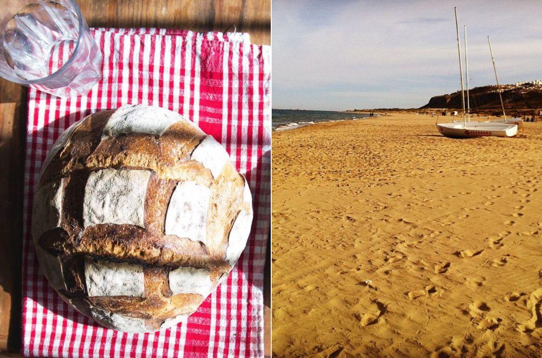 Un pan artesano en el taller 'BonsFocs', de Barcelona y una playa mediterránea. Fotos: Facebook.