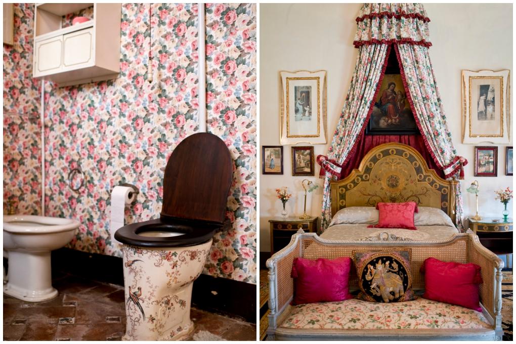 El baño y el dormitorio de la emperatriz se mantienen como en su tiempo en la zona privada de Las Dueñas.