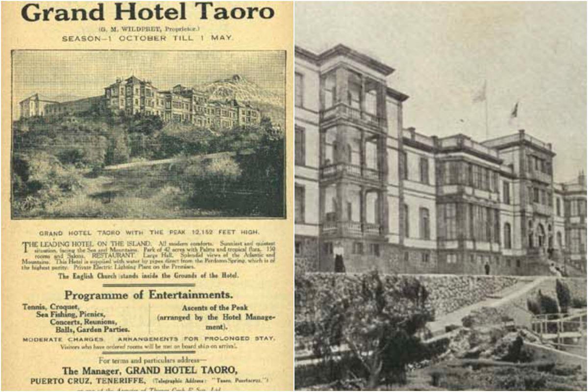 El histórico Hotel Taoro en 1890. Imagen cedida por la Fundación Canaria Orotava Historia de la Ciencia.