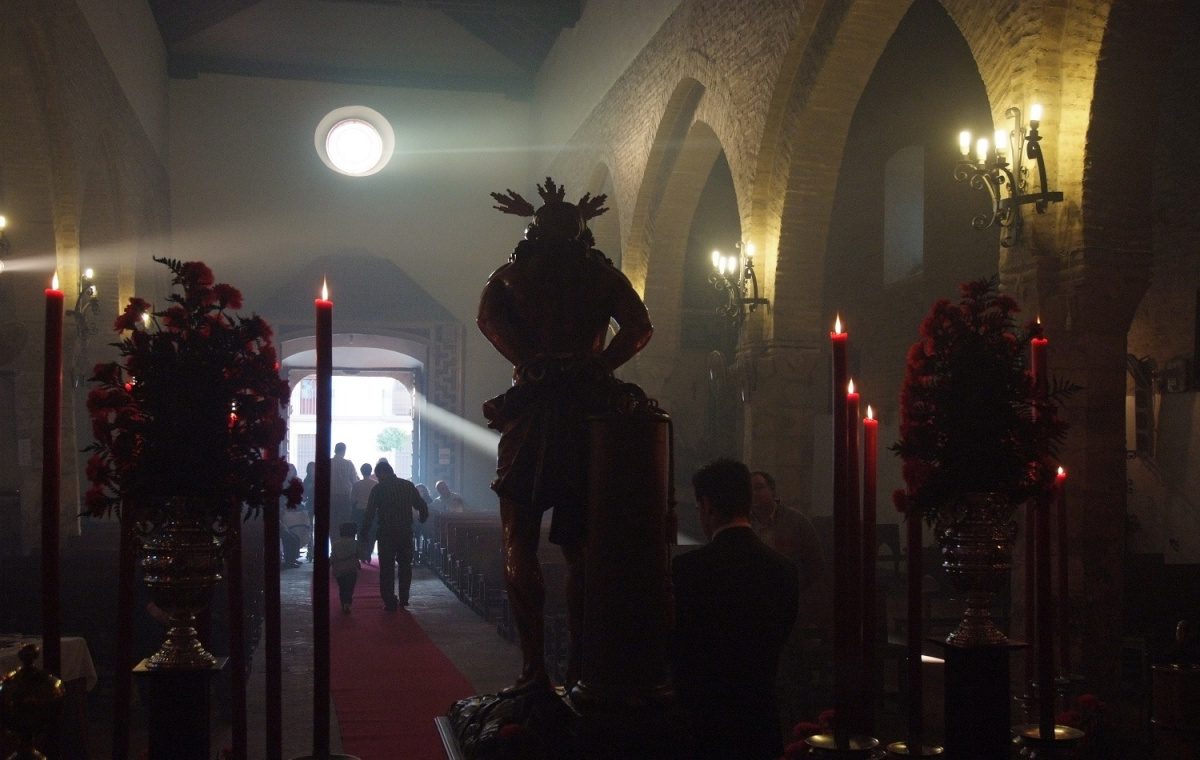 El Cristo, preparado para salir. Foto: J. Manuel Jurado Cordón. Ayuntamiento de Lucena.