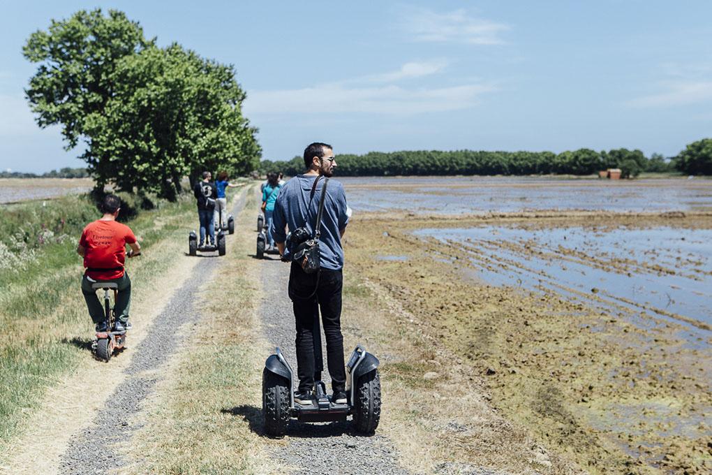 El paseo por los arrozales se puede realizar caminando, en bici o 'segway'. Son fáciles de hacer, al ser terreno muy plano.