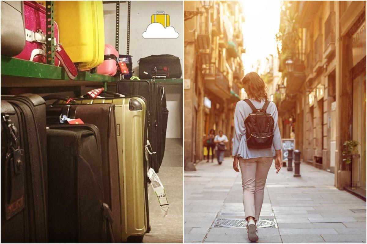 El local de Keepiz y una chica paseando por Madrid.