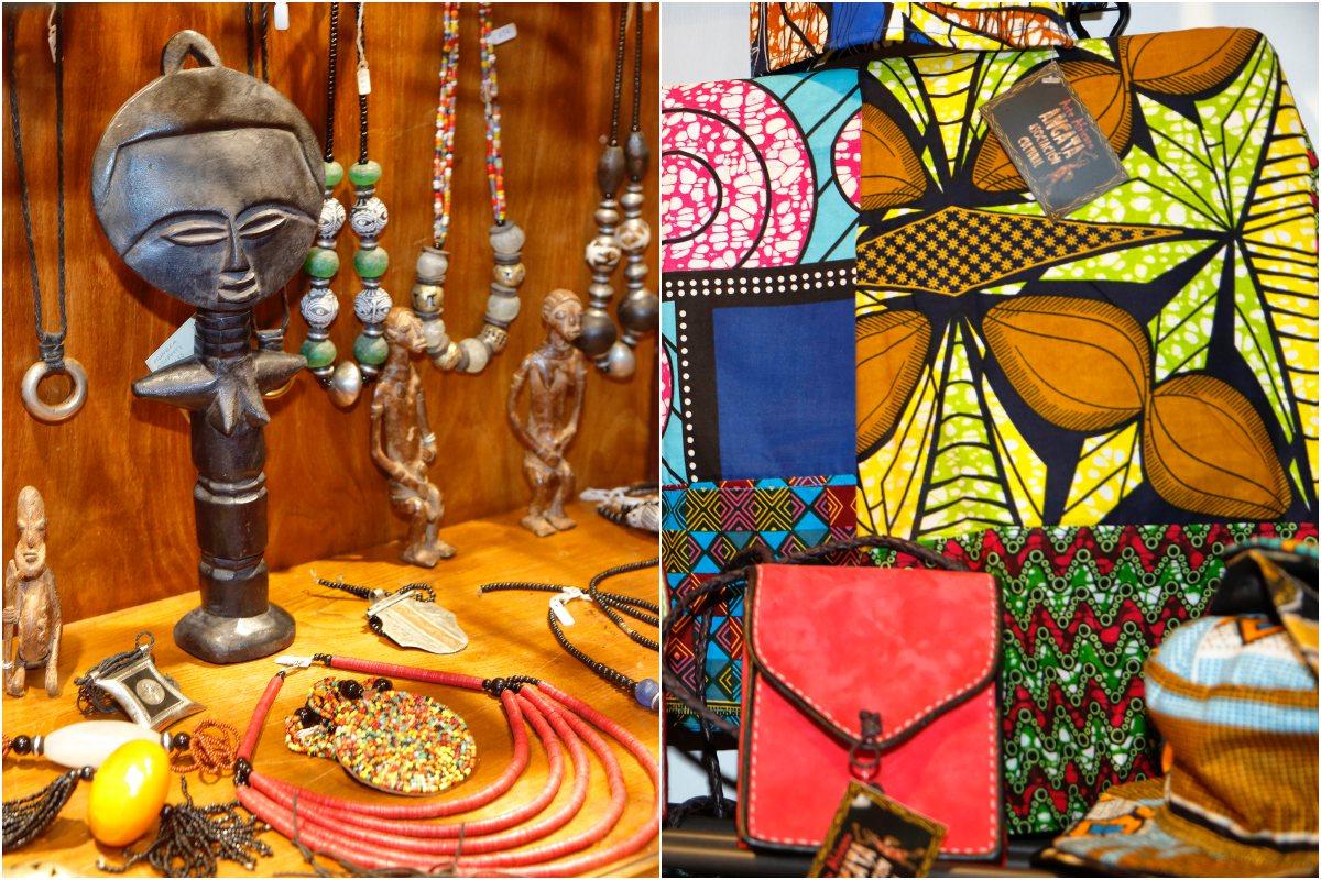 Bolsos en cuero, gorras de visera en llamativas telas africanas o la joyería de cauris de Mali. Hay mucho donde elegir.