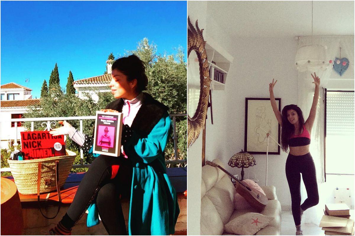 Soleá Morente en el cerro de Palomares, Granada, con el último disco de Lagartija Nick, de Discos Marcapasos, y el libro Ropa múisca y discos, de Discos Bora Bora; y en su casa haciendo pilates. Fotos: Instagram