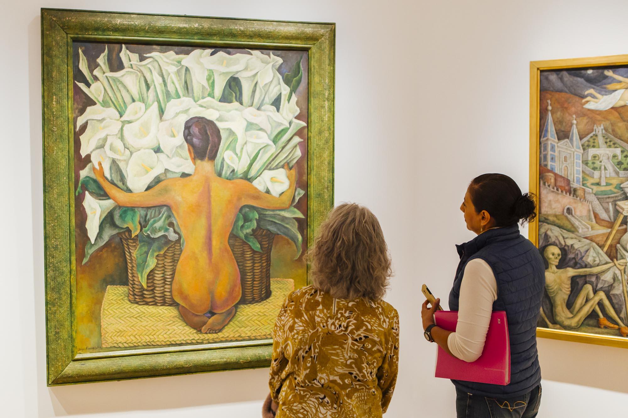 'Desnudo con alcatraces' (1944), óleo sobre masonite, obra del afamado Diego Rivera, en la última sala de la exposición Tres siglos de pintura.