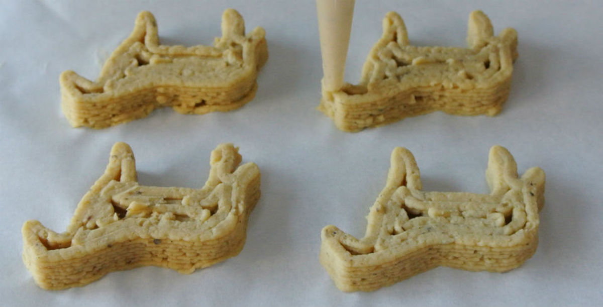 Galletas elaboradas con impresora 3D para alimentación.
