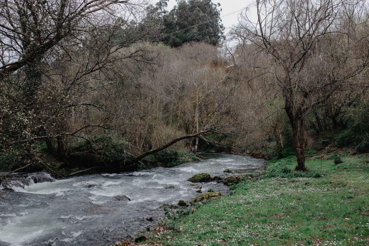 El río que rodea 'A Quinta da Auga'.