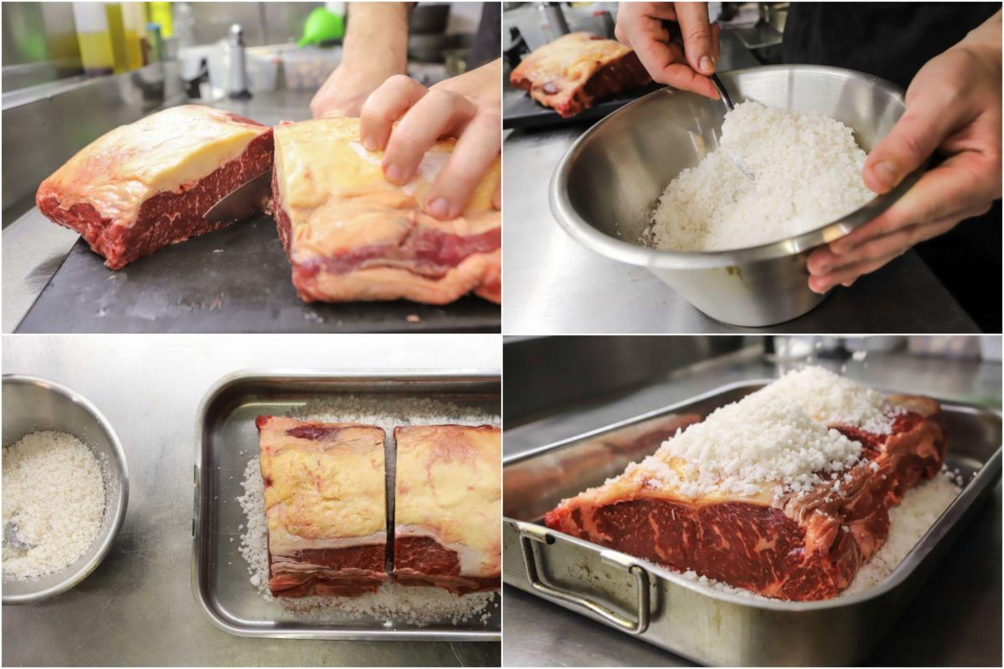 Preparando el tartar de presa ibérica: Se mete en sal y azúcar durante 12 horas para deshidratarlo.
