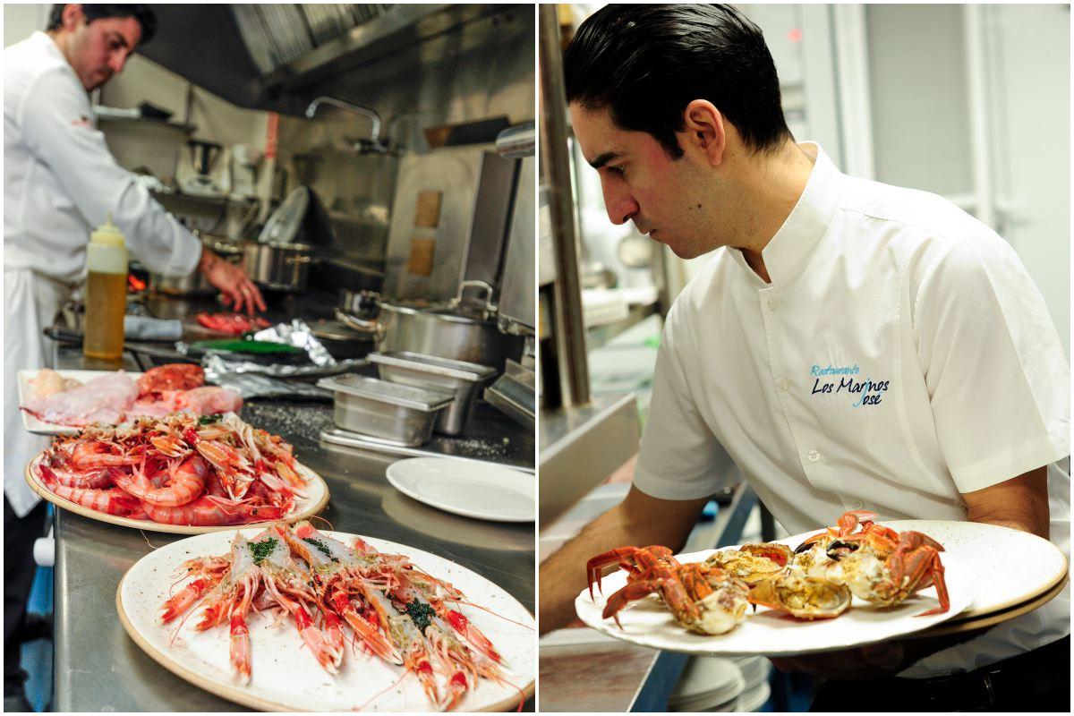 Los productos del mar llenan este restaurante.