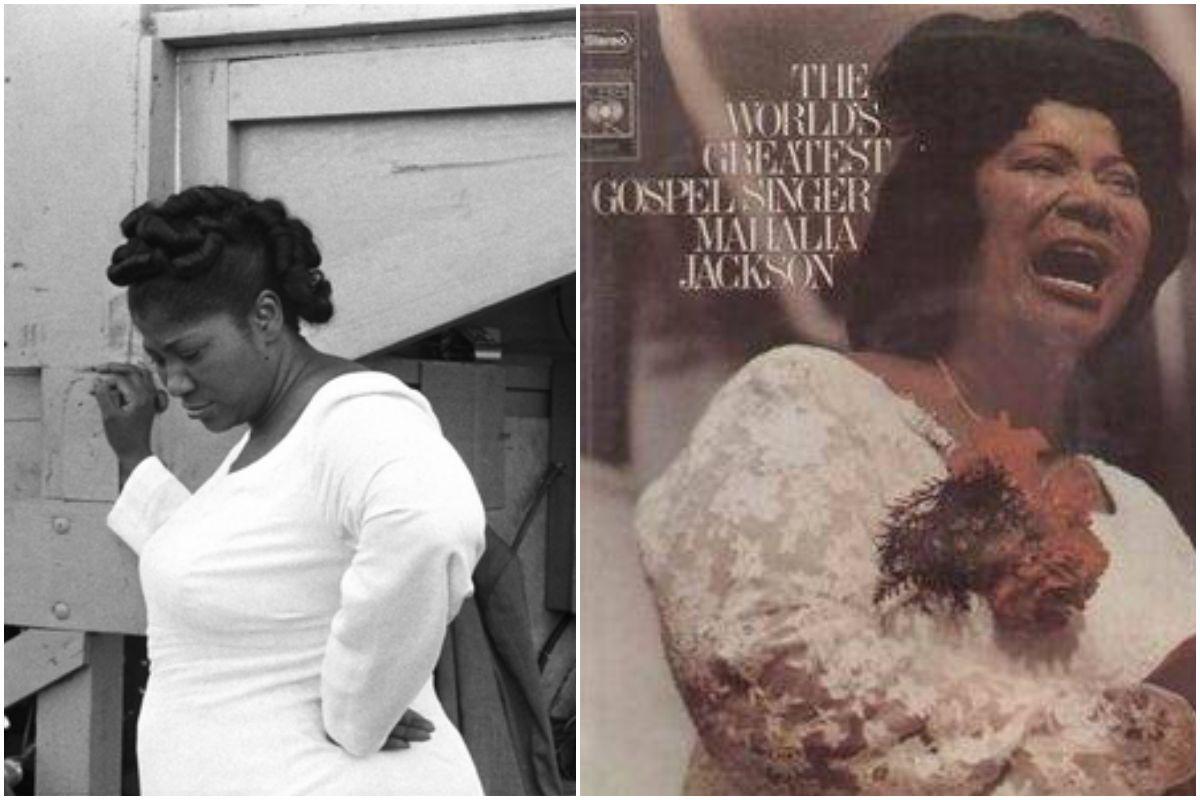 Retrato de Mahalia Jackson y la portada de uno de sus discos.