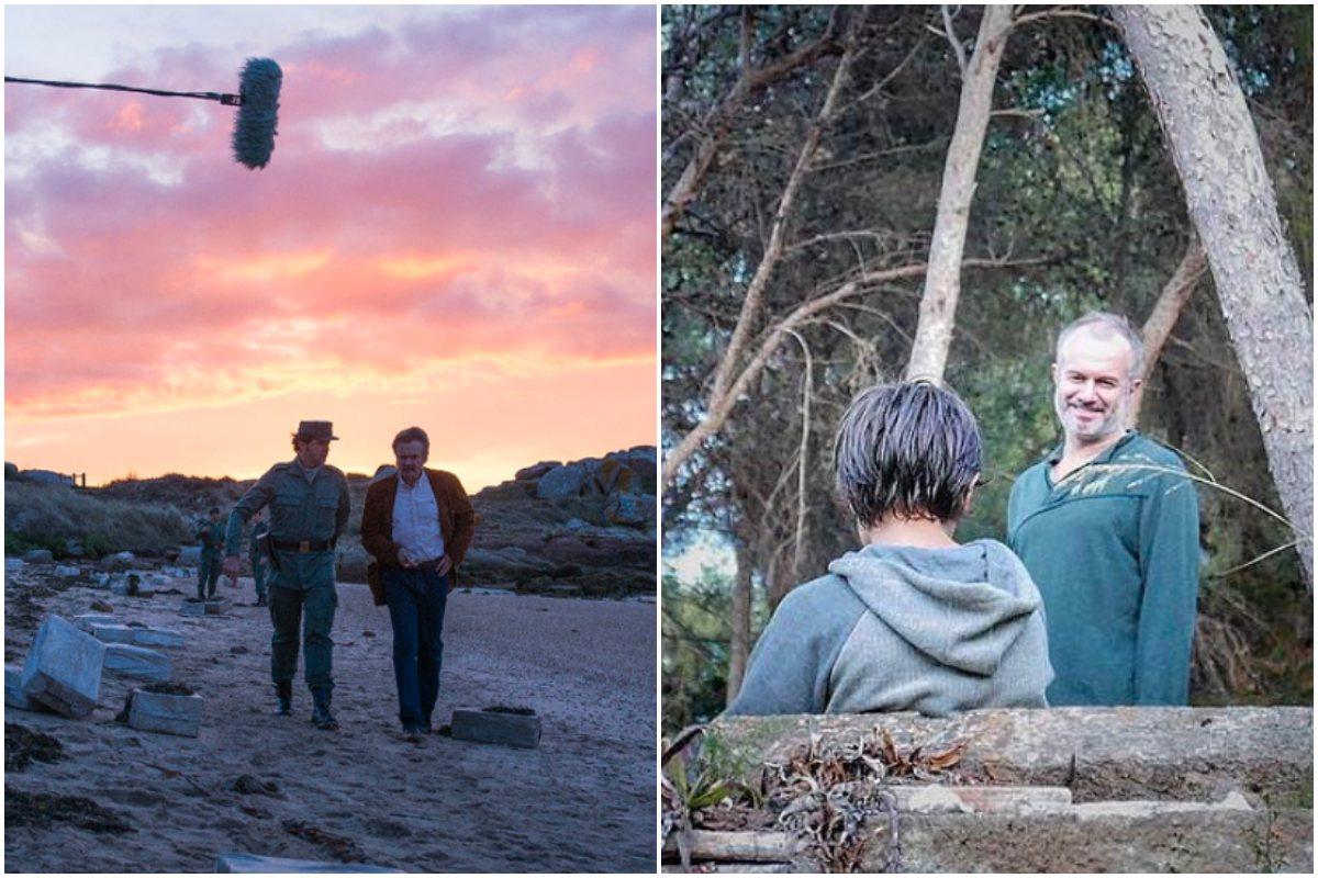 A la izquierda, el actor durante el rodaje de 'Fariña'. A la derecha, junto a su hijo.